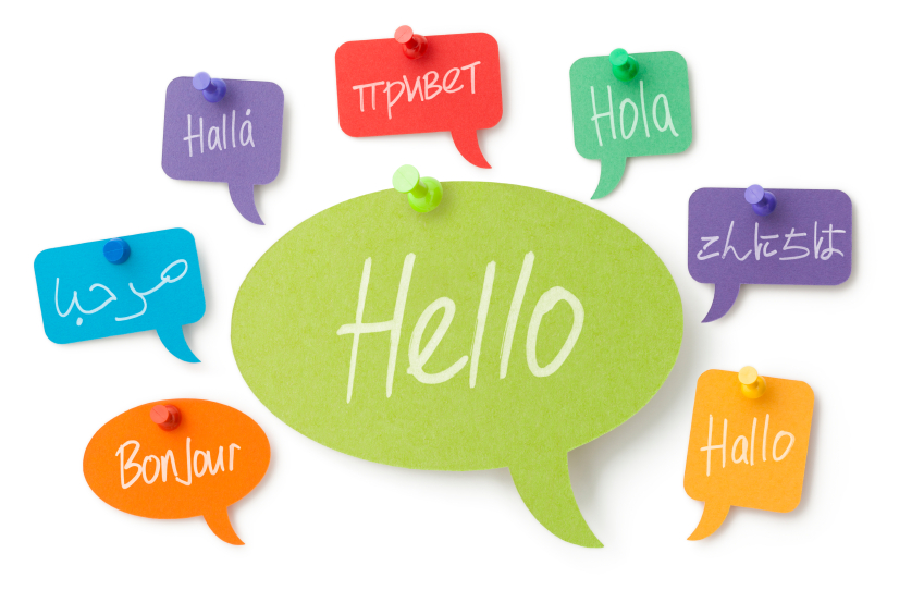 Hello in eight different languages on colourful speech bubbles
