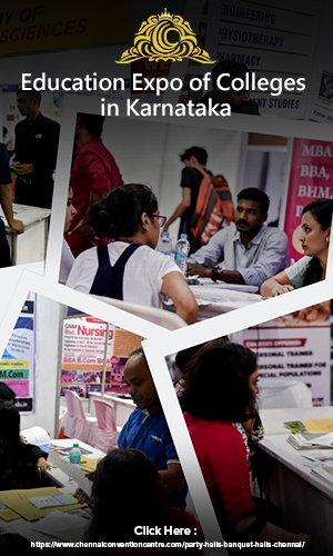 Students and counsellors interacting with each other at one of the most preffered exhibition hall during an education expo in Karnataka.